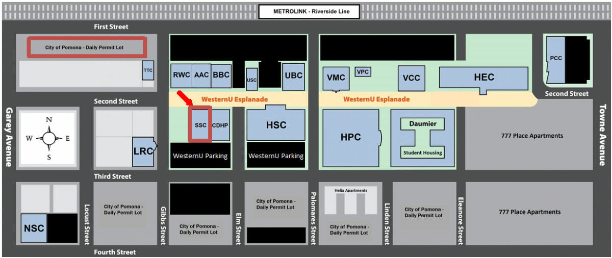 Visitor Parking and SSC Map