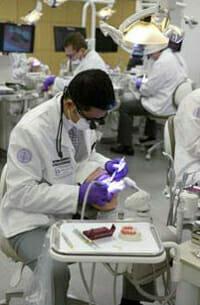Student working in the dental lab