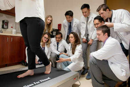 WesternU Summer Health Professions Education Program (SHPEP) students learn about casting during the podiatric medicine rotation