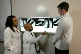 Podiatry students learning to read x rays